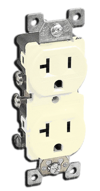 Double Receptacle Tamper 20 amp, Ivory. Part # 20TR 5000 I.