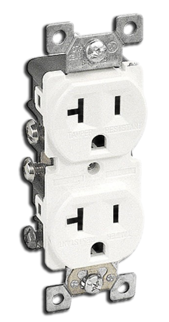 Double Receptacle Tamper 20 amp, White. Part # 20TR 5000 W.