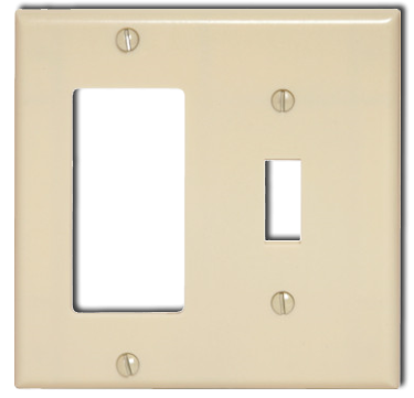 Two Gang Switch-Receptacle, Beige. Part # 329981.