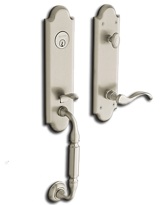 Handleset: Manchester Emergency Exit Feature RH, Satin Nickel, Baldwin. Part # 85350-150-Rent