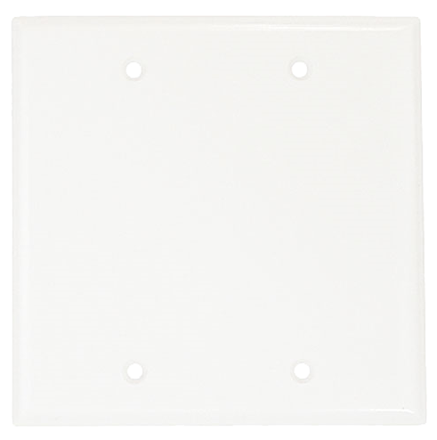 Wallplate Two Gang, Blank, White. Part # C0-2137 W.