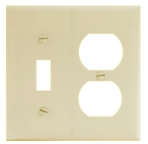 Two Gang Single Receptacle, Ivory. Part # C0-2138 I.
