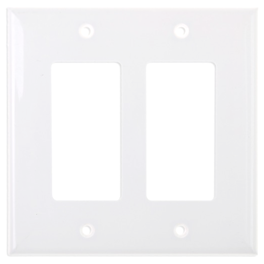 Electrical 2 Gang Decora Plate, White. Part # DP2001-WHT.