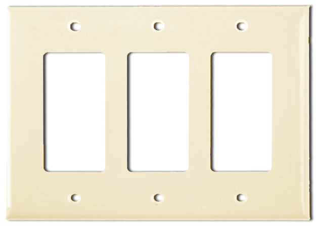 Wallplate Three Gang Switch, Ivory. Part # DP2003 I.