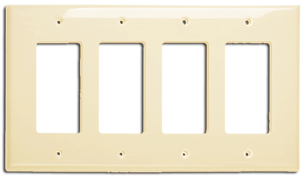 Wallplate Four Gang Switch, Ivory. Part # DP2004 I.