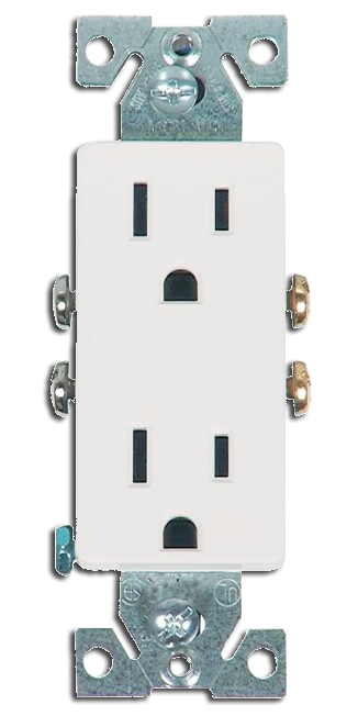 Double Receptacle 15 amp, White. Part # DR 4000 W.