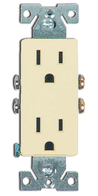 Double Receptacle 20 amp, Ivory. Part # 20 DR 4000 I.