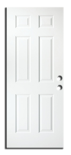 "Exterior 6-Panel Metal Pre Hung Door 32"" x 80"", Primed RH"