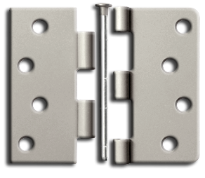 "Hinges: 4"" x 4"" x 2.3"", Satin Nickel. Part # S44U15-R"