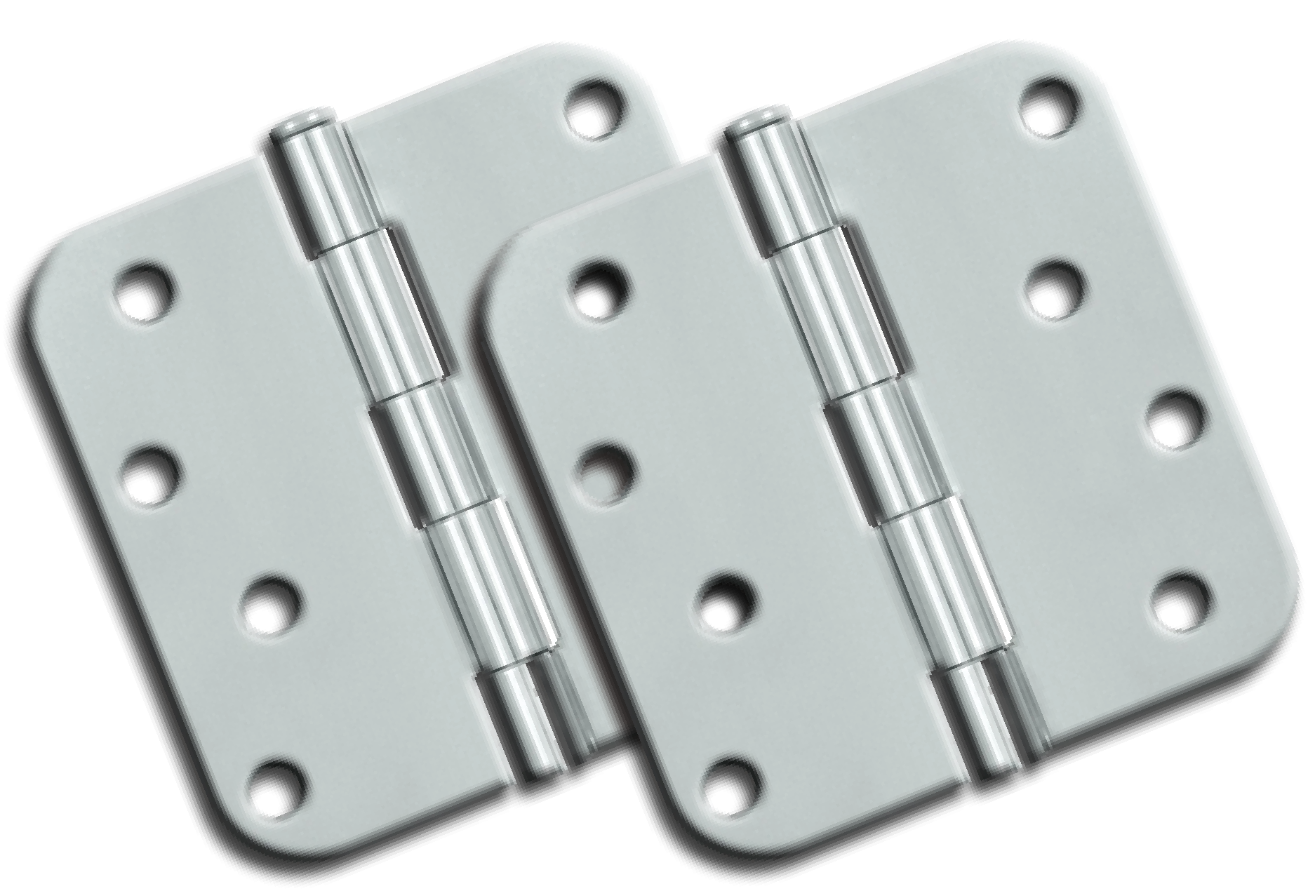 "Hinges: 4"" x 4"" x 2.3"" x 5/8"" Radius, Chrome (pair). Part # S44R526"