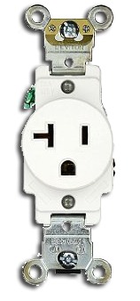 Single Receptacle Straight Blade 15 amp, White. Part # SR 15 TR.