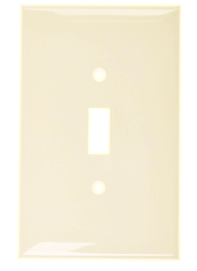 Wallplate One Gang Toggle Switch, Ivory. Part # TP 1001 I.