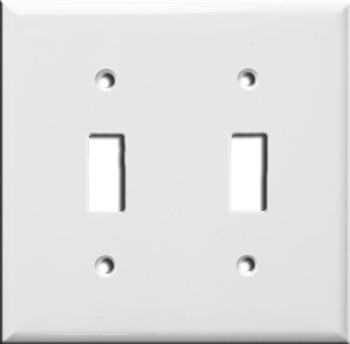 Wallplate Two Gang Toggle Switch, White. Part # TP 1002 W.