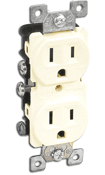 Double Receptacle 15 amp, Ivory. Part # TR 5000 I.