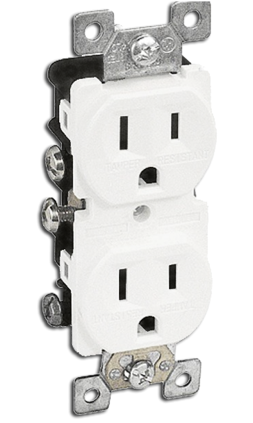 Double Receptacle 15 amp, White. Part # TR 5000 W.