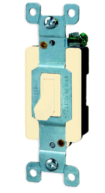 Single Pole 3 Way Switch Toggle, Ivory. Part # TS4400 I.