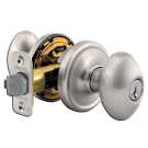 Entry Lock: Portland Knob, Satin Nickel. Part # 6901-US15