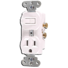 Single Pole Switch and Receptacle, White. Part # CO-274 W.