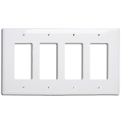 Wallplate Four Gang Switch, White. Part # DP2004 W.