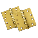 "Hinges: 4"" x 4"" Square, Solid Bright Brass (pair). Part # DSB43"