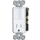 Single Pole Switch/Receptacle, White. Part # EM68625 W.
