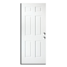 "Exterior 6-Panel Metal Slab Door 30"" x 96"", Primed RH"