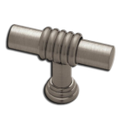 Knob: Brass Ringed Bar 40mm, Brushed Nickel. Part # PN1040-BNP-C