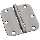 "Hinges: Steel, Residential 3.5"" x 3.5"" x 2.7"" x 5/8"" Radius, Satin Nickel. Part # S35R5BK15-US15"