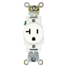 Single Receptacle Straight Blade 20 amp, White. Part # SR 20 TR.